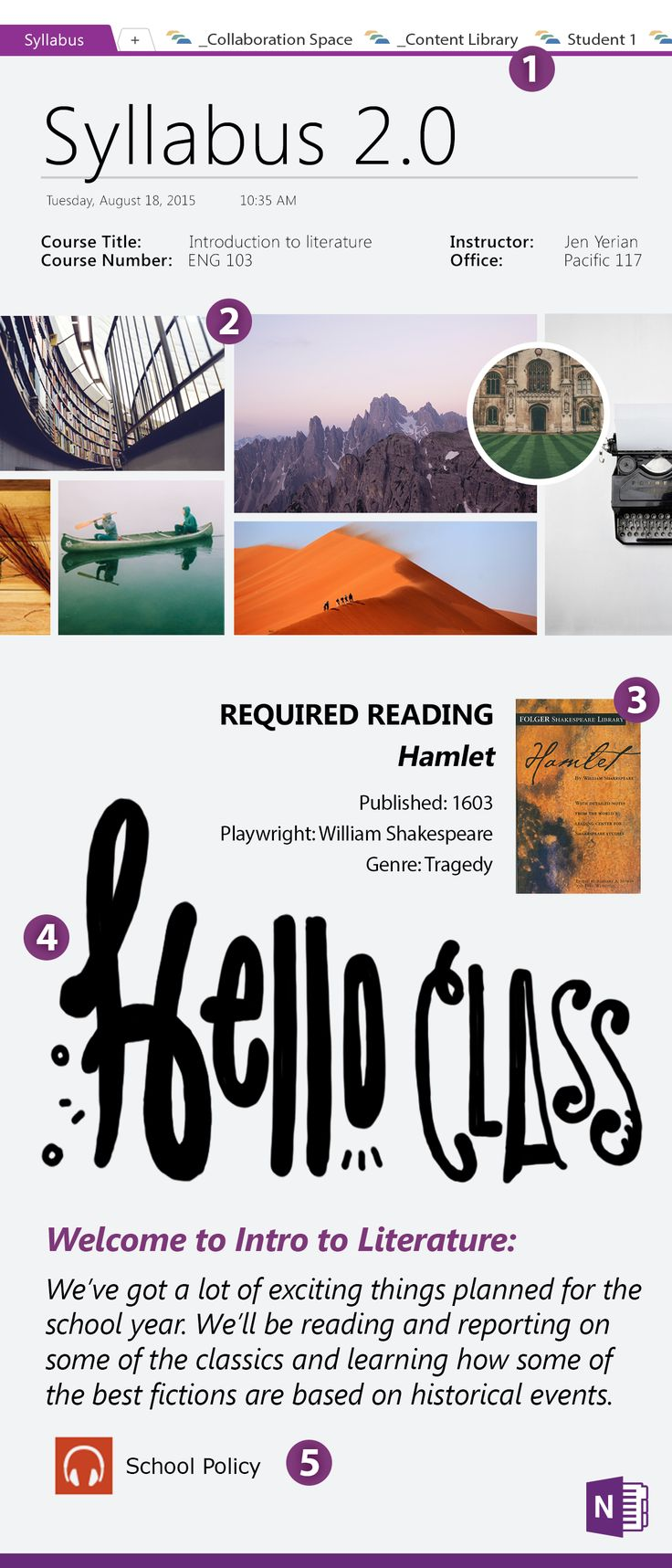 Prepping for back to school? Engage your students from day one by creating a visual & informative syllabus. 1: Use tabs to organize assignments. 2: Give a curriculum sneak peek by making a mood board. 3: Don't just tell them about assigned reading, show them! 4: Welcome your students with a more personal introduction. 5: Pre-record policies and procedures so when it's time to give the rundown, you can just hit play. When you're done, share your syllabus with the entire class.