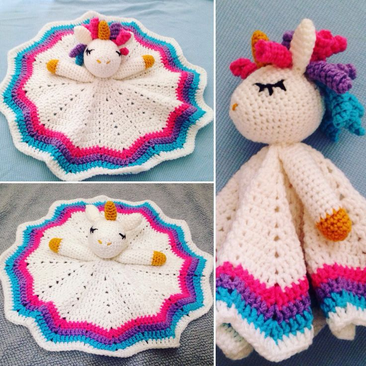 Crochet Rainbow Unicorn Lovey/Security Blanket by CooleyCrochet on Etsy https://www.etsy.com/listing/270853182/crochet-rainbow-unicorn-loveysecurity