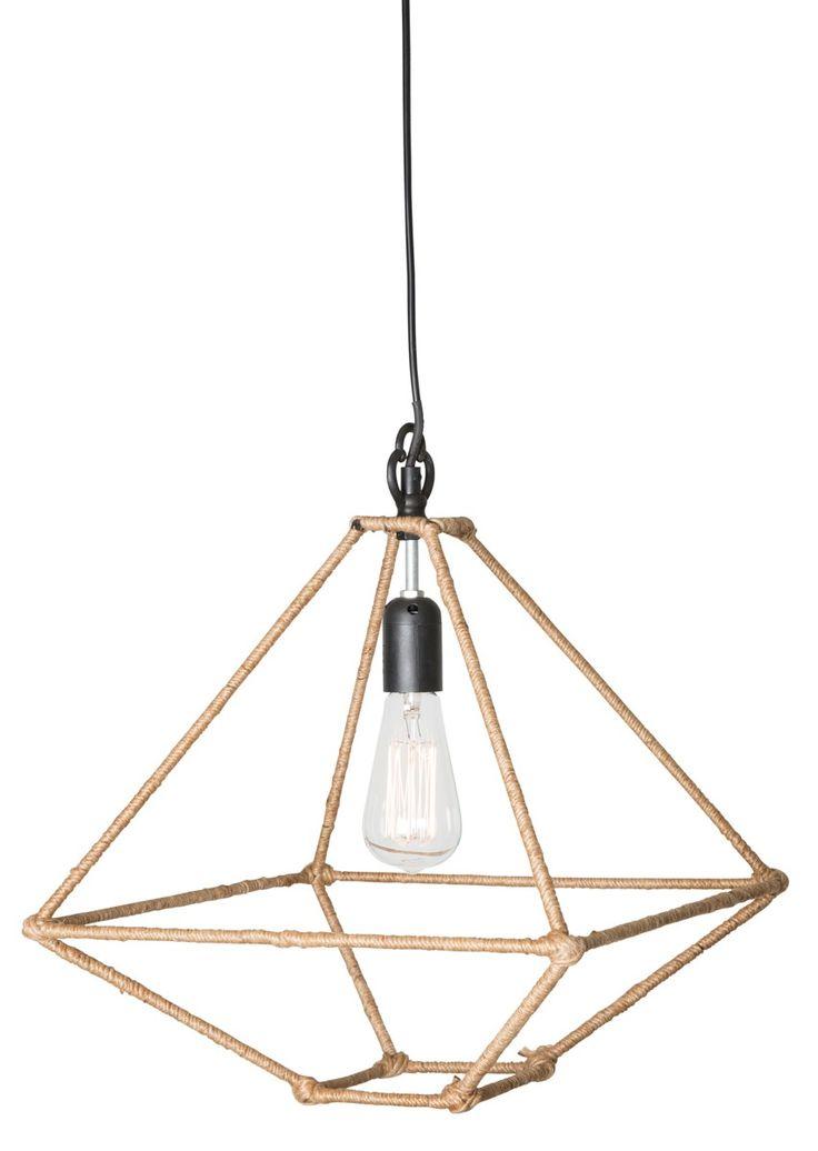 Triangular Ceiling Light With Hemp Rope