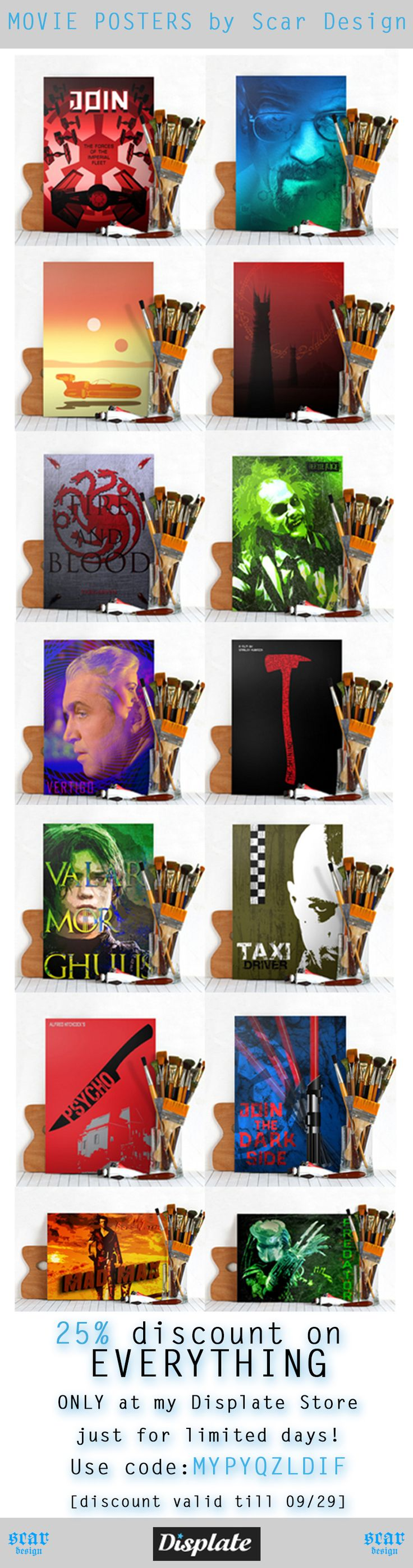 Movie Posters discount by Scar Design To get discount use code:  MYPYQZLDIF…