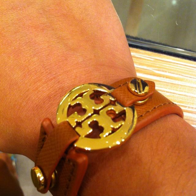 Tory Burch bracelet- tan leather, gold pendant