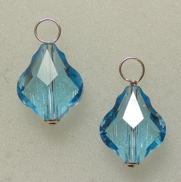 Interchangeable Earring Charms With 14Mm Baroque Swarovski Aqua Silver, Rose, Yg
