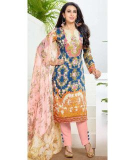 Glorious Blue And Multi-Color Pashmina Straight Suit.