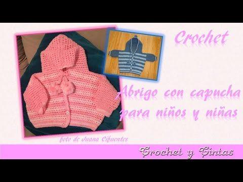 Cómo hacer abrigo, suéter, saquito o chaqueta con capucha para bebé a crochet - ganchillo Parte 1 - YouTube