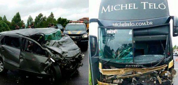 Ônibus de Michel Teló se envolve em acidente no Paraná