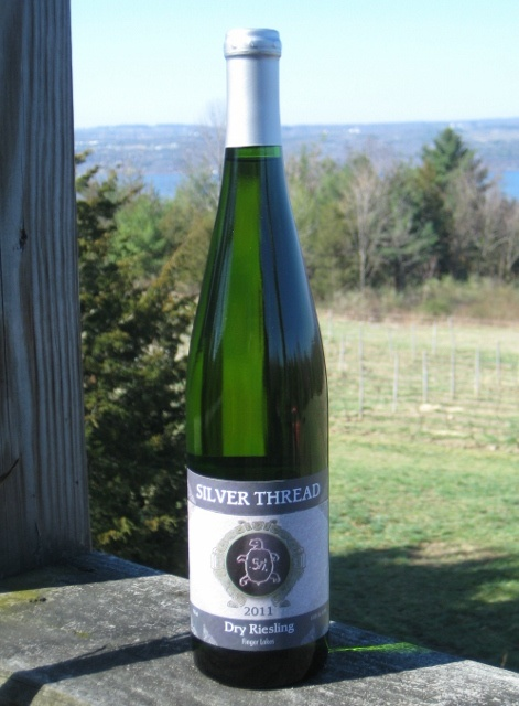 Silver Thread 2011 Dry Riesling -- these friends know how to make beautiful Finger Lakes wine; well-balanced, nice acidity