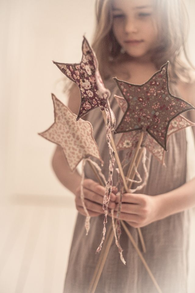 fabric star wands for play