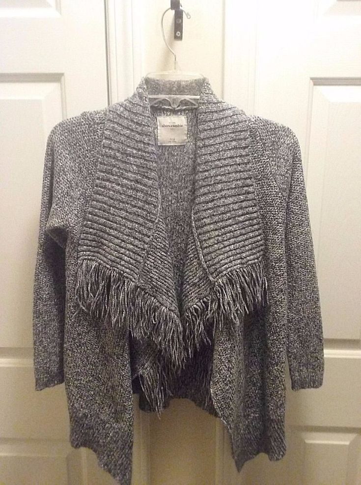 Abercrombie Girls Sweater 15/16 Grey Fringe Long Sleeve Open Front  #AbercrombieFitch #Cardigan