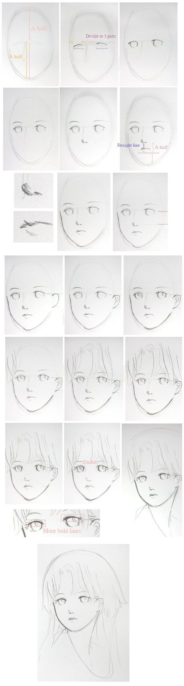 教你画个美人头, How to Draw Manga People,Resources for Art Students / Art School Portfolio @ CAPI ::: Create Art Portfolio Ideas at milliande.com , How to Draw Manga Figures, Whimsical Human Figure, Sketch, Draw, Manga, Anime