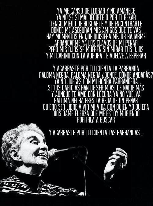 Chavela Vargas../Paloma Negra #canción @MelenaCrvts mi canción .
