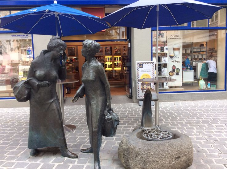 "St Pölten, Austria - Public statue called ""Gossiping Women"""