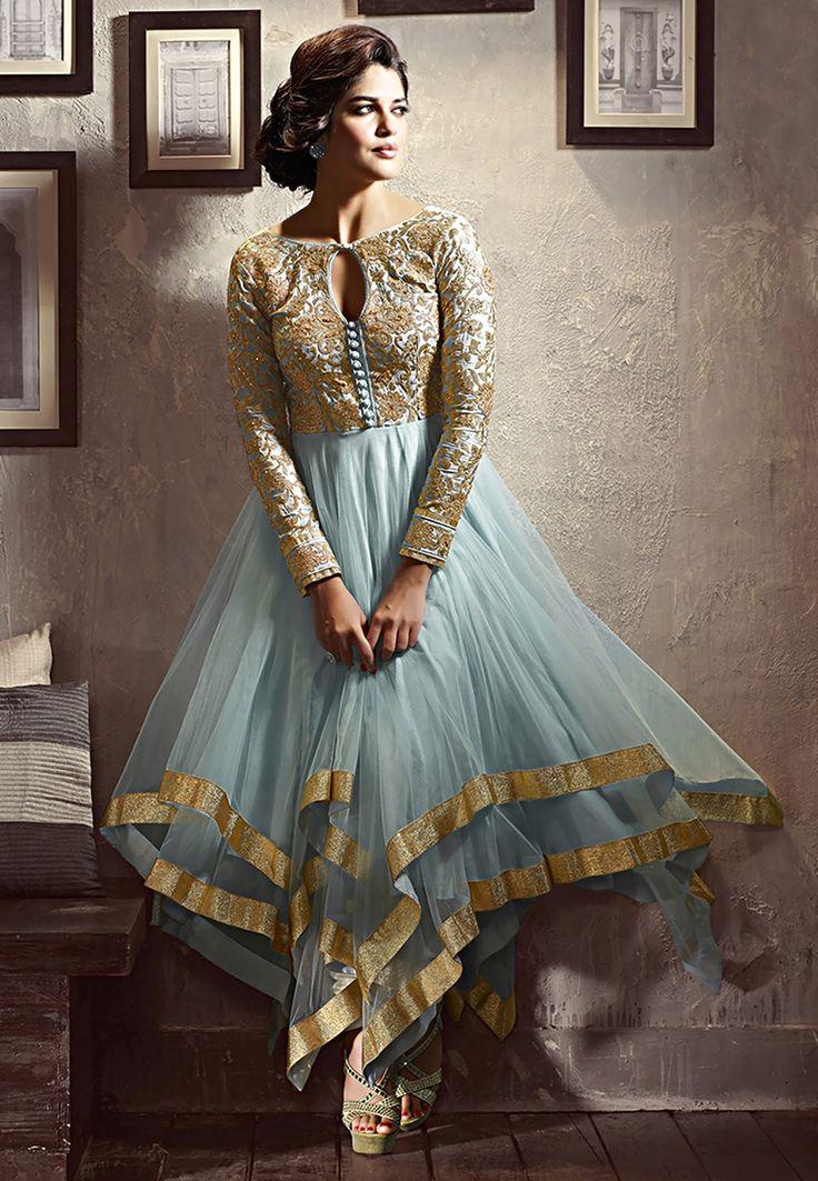 It is a chudidar, but with the the asymmetric hem it makes a grand effect. Good for haldi, or simple sangeet Light #Blue Net Asymmetric #ChuridarKameez Online Shopping: KZD508