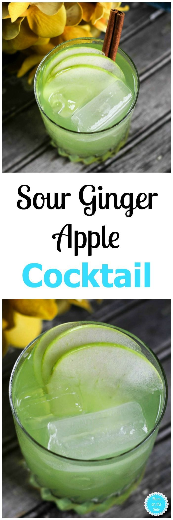 This Sour Ginger Apple Cocktail Recipe is SO good and the perfect fall cocktail to serve at your harvest parties!