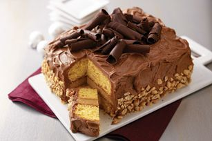 Stunning Peanut Butter-Chocolate Layer Cake -- A creamy peanut butter filling is