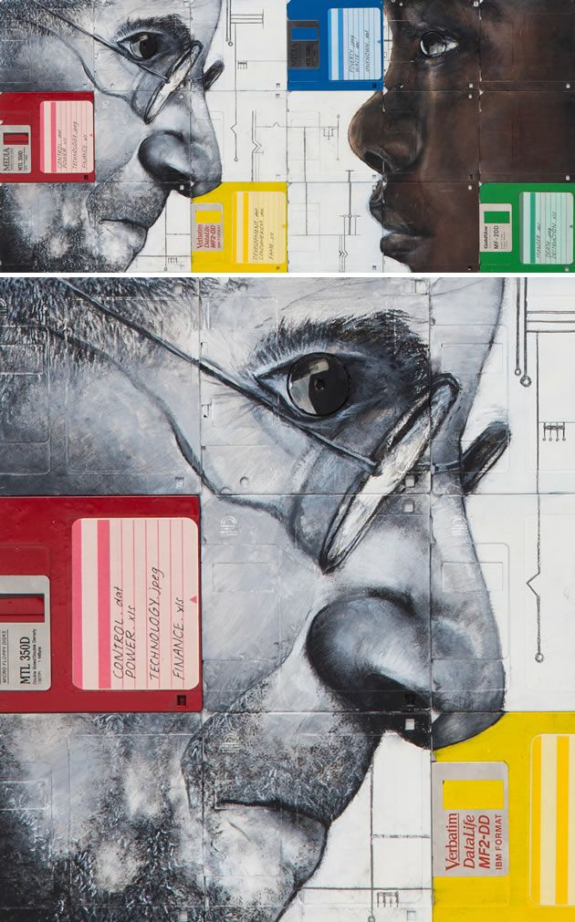 Painting on floppy disks: a great high school Art project by Michaela Barker, NCEA Level 3