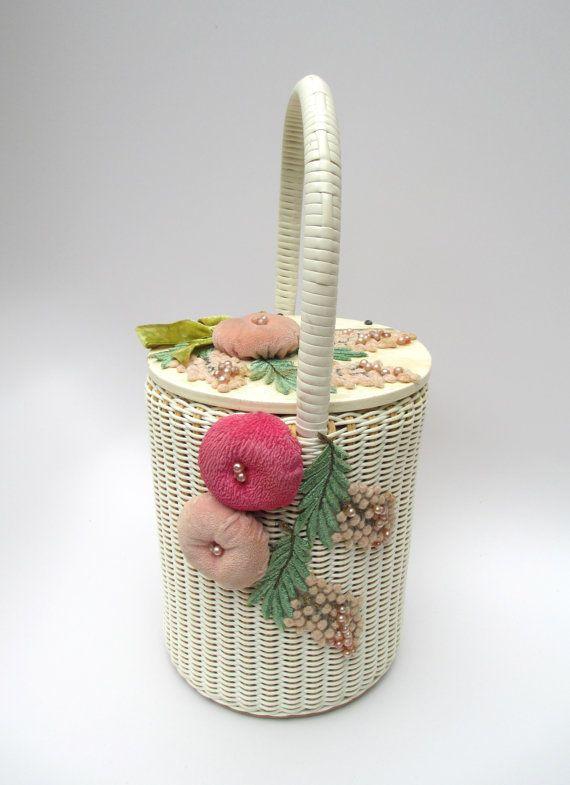 Saks Fifth Avenue vintage embellished basket purse made in Western Germany