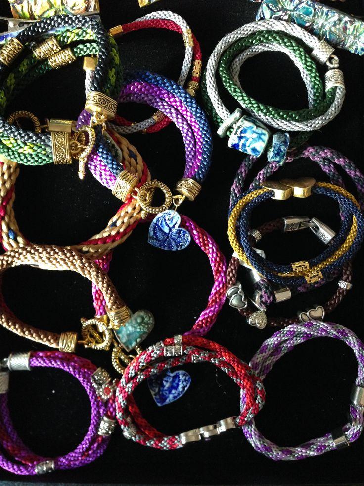 kumihimo wristbands with clay charms
