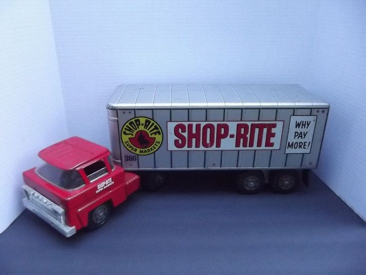 Toy Tractor Trailer Trucks : Vintage marx pressed steel shop rite tractor trailer semi