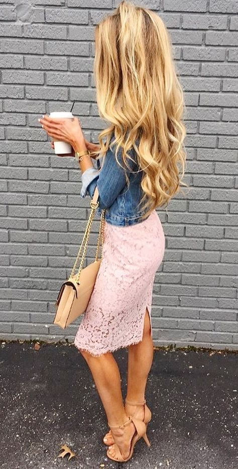 pink lace and denim. SO cute!!!