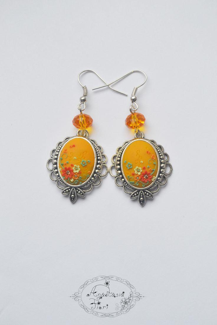 #fashion #earrings #jewelry #mangocolor #color #bright #spring #filigree #filigreeearrings #handmadeearrings #polymerclay #handmade #sunny #fun #etsy #etsyshop