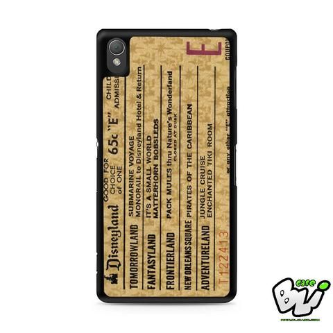 Disneyland E Ticket Brown Sony Experia Z3,Z4,Z5,C3,C4,E4,M4,T3 Case,Sony Z3,Z4,Z5 MINI Compact Case