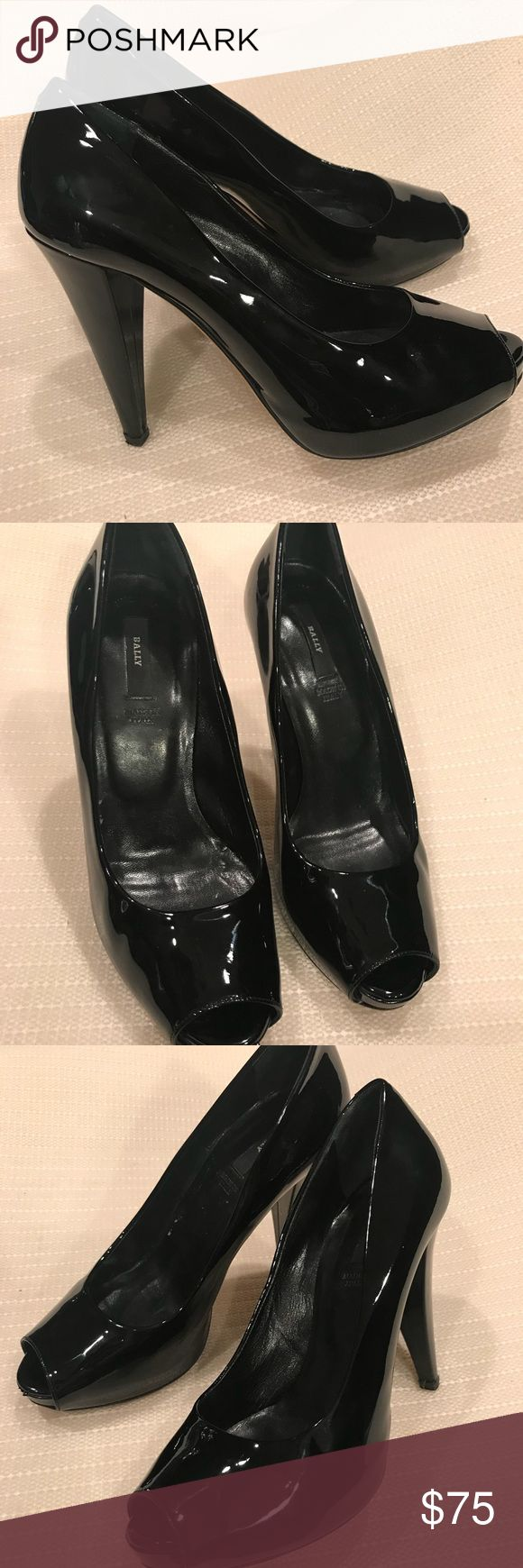 Authentic Bally peep toe patent leather heels Super sexy shoes ! These are gorgeous & are a luxury item at a fraction of the cost ! They are jet black patent leather with minimum scuffs on soles and minor wear on uppers. These are timeless classic piece . They look fab with everything ! box not included Bally Shoes Heels