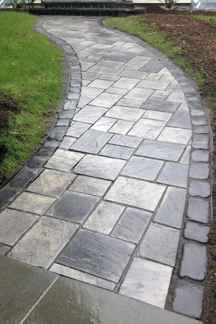 Walkway unilock richclif dawn mist with courtstone basalt for Basalt pavers