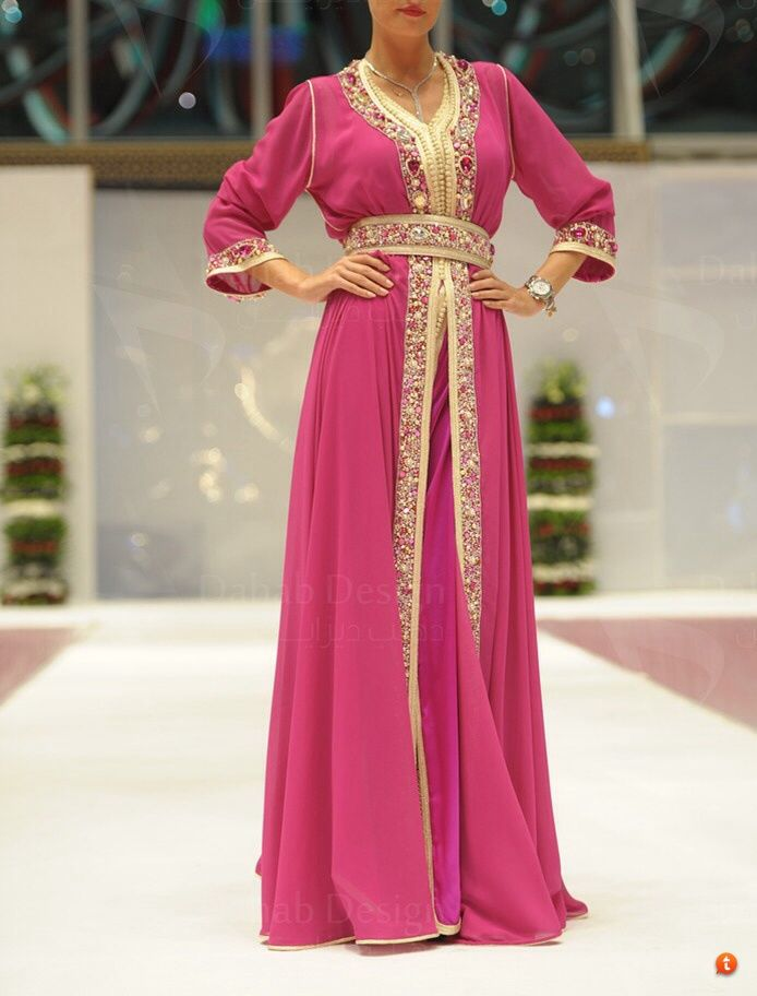 Caftan pink and gold