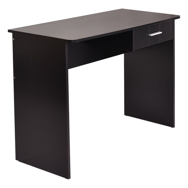 "Tangkula Computer Workstation Desk Laptop Drawer Working Table. Installed with a drawer to store away items and keep the area tidy. Silver finish metal handle on the drawer. Constructed from particle board. Assembly required. Color: Black. Material: Particle Board. Overall Size:39.37""(L)×18.9""(W)×30""(H)."