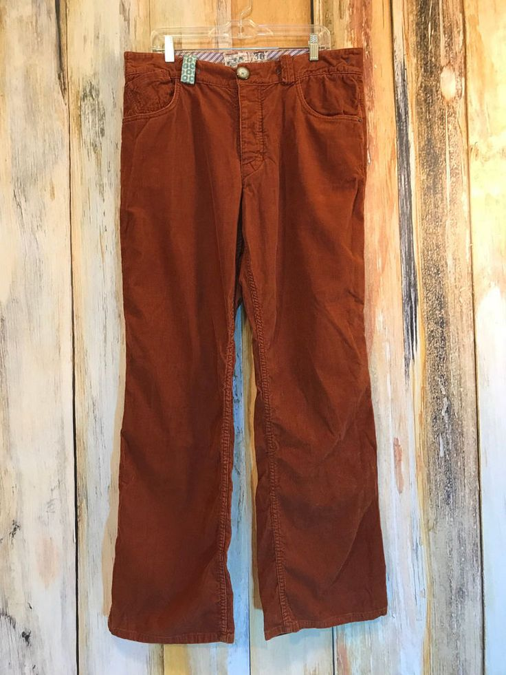 Trovata Rust Brown Cords Casual Pants Button Fly Hipster 36 x 32 $198 EUC! #Trovata #Corduroys