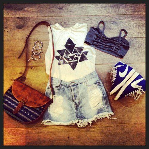Sleeveless Crop Top Cute Shorts : Tribal Print : Tumblr ...
