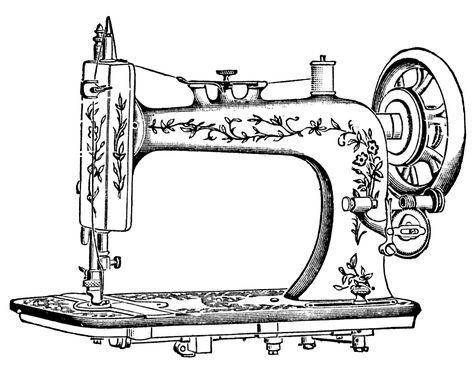 Antique Clip Art - Pretty White Sewing Machine - The Graphics Fairy