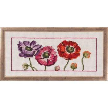 Borduurpakket van prachtige paars-rode anemoontjes.