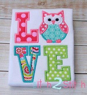 Owl LOVE Applique Design
