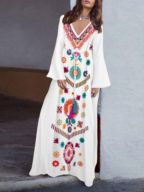 f1ed895b0d Shop Maxi Dresses - White Linen Floral Casual V neck Linen Dress online.  Discover unique designers fashion at Modmiss.com.