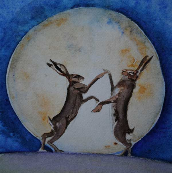 detail of hare and hart nursery rhyme, watercolour, full moon with two hares dancing.