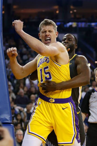 3ec95c8cf34 Moritz Wagner of the Los Angeles Lakers reacts after making a basket while  being fouled by Draymond Green of the Golden State Warriors at ORACLE.