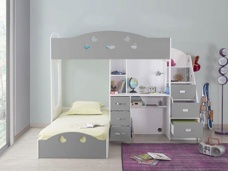 les 25 meilleures id es de la cat gorie lit superpos avec bureau sur pinterest bureau pour. Black Bedroom Furniture Sets. Home Design Ideas