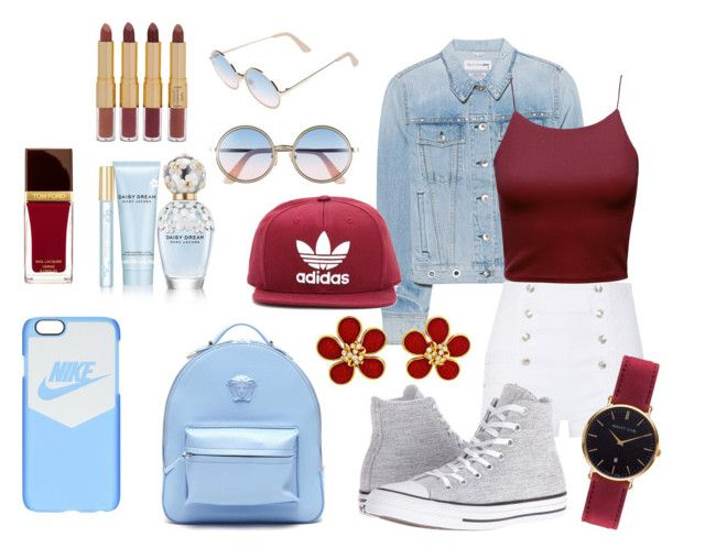 """Blue and burgundy"" by barathishamalah ❤ liked on Polyvore featuring rag & bone, Pierre Balmain, Converse, Versace, adidas Originals, Sunday Somewhere, NIKE, Abbott Lyon, Marc Jacobs and Tom Ford"