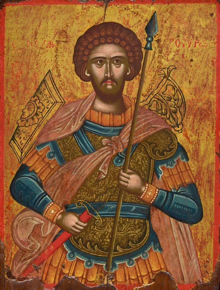 Detailed view: Z072. Saint Theodore the Tyro- exhibited at the Temple Gallery, specialists in Russian icons