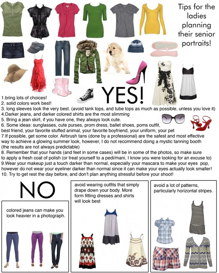 Great tips to help senior girls figure out what to wear for their photo sessions