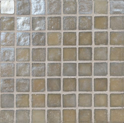 Loft Moka - Iridescent irregular edged glass mosaic tile in shades of taupe.