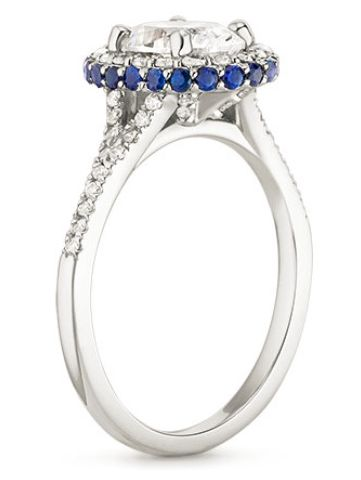Our Circa Diamond Ring with Sapphire Accents is the perfect inspiration for a R2D2 Star Wars engagement ring!