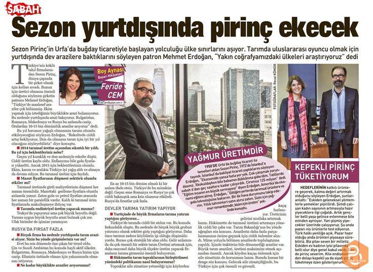 Yönetim Kurulu Başkanımız Mehmet Erdoğan'ın Sabah gazetesinde yer alan röportajını keyifle okumanızı dileriz.