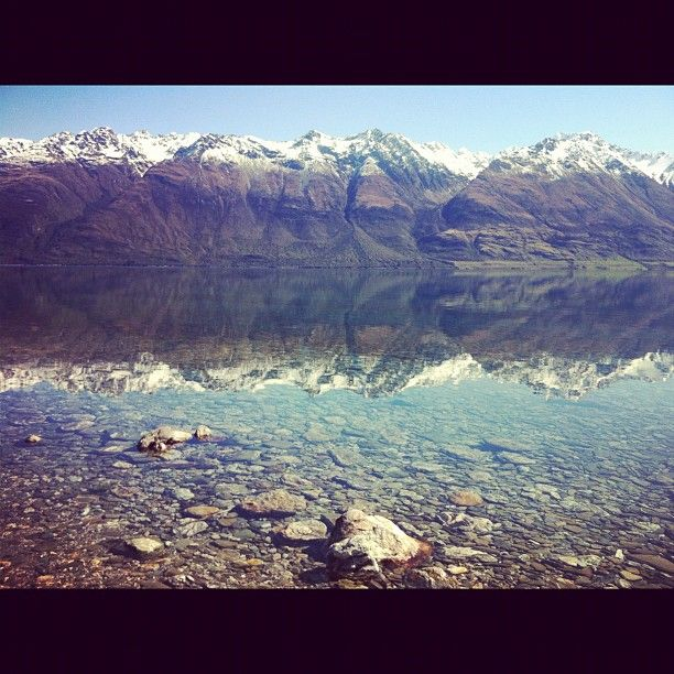 Crazy relflections on a bluebird spring day near Glenorchy!