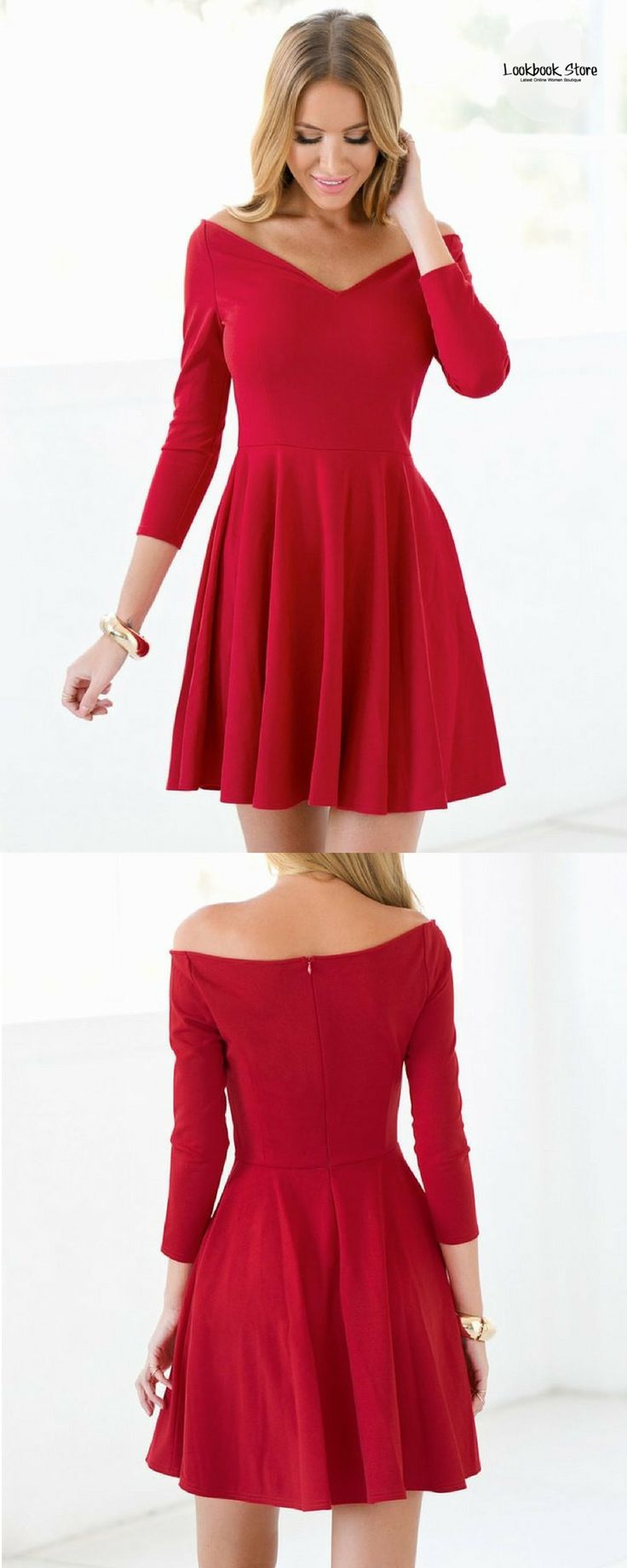 Dress // Party in style with this pretty red bardot neck A-line dress.