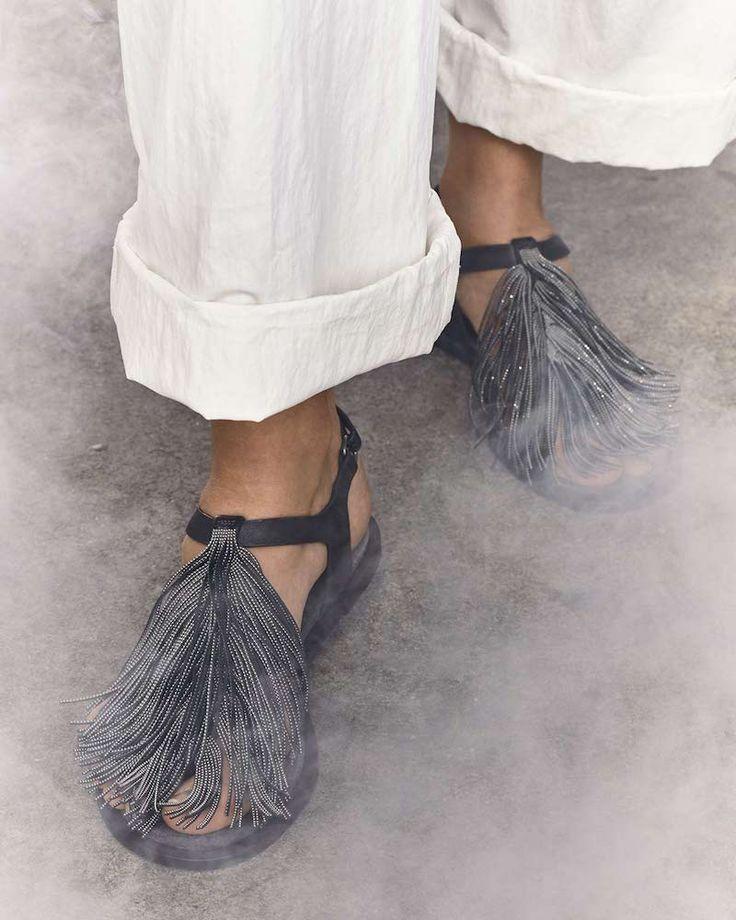 Brunello Cucinelli Monili Tassel Flat Sandal