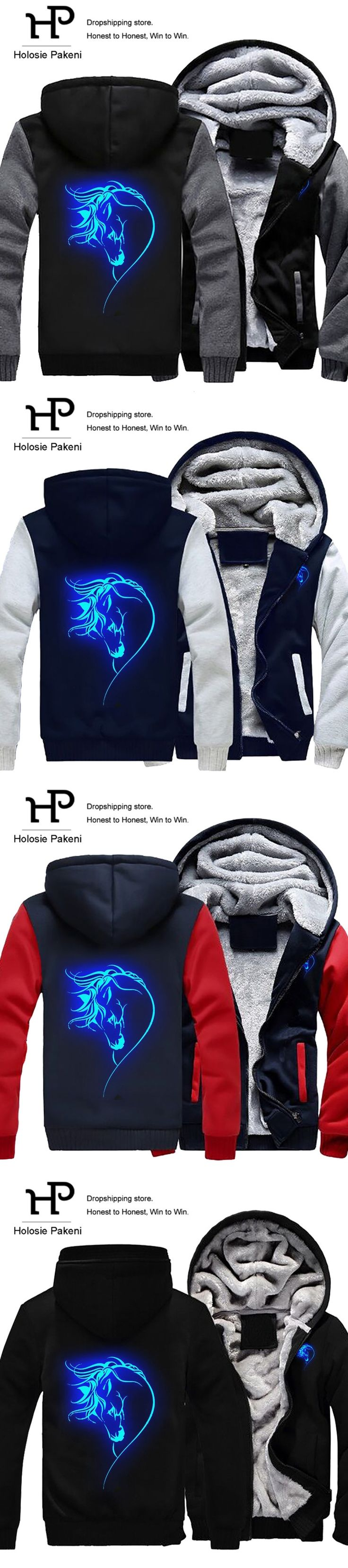 Dropshipping Animal Horse Face Glowing Hoodies Zipper Jacket Horse Funny Luminous Winter Fleece Thicken Sweatshirt Hooded Coat