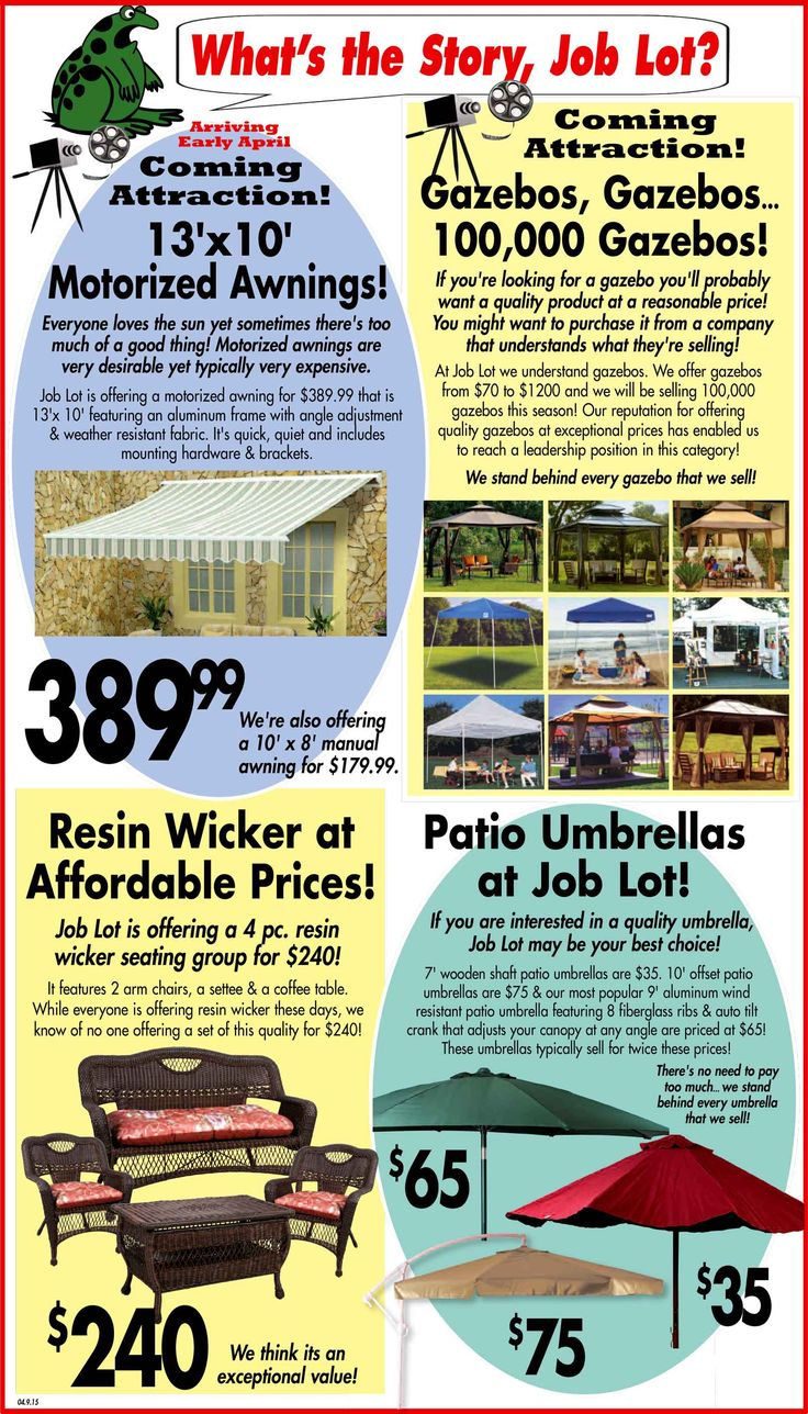 Think or Ocean State Job Lot has fantastic deals and all your outdoor  needs. We have Gazebos, Awnings, Wicker Furniture, and Umbrellas - 26 Best Whats The Story Images On Pinterest The Story, What's
