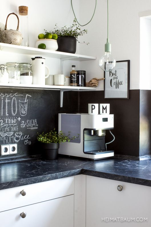 heimatbaum - wild & schön Black and White kitchen Chalkboard wall black counter top Sinnerlig pot Muuto Lamp